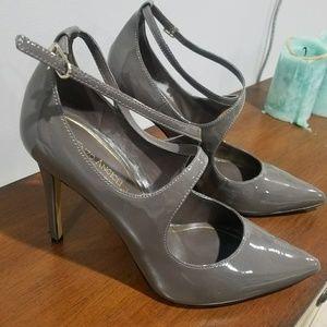 Enzo Angiolini Grey Patent Leather Closed Toe Heel